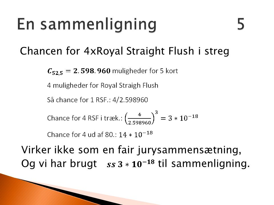 En sammenligning 5 Chancen for 4xRoyal Straight Flush i streg
