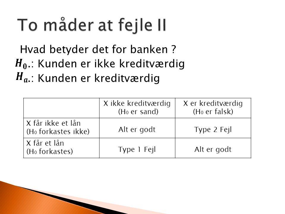 To måder at fejle II Hvad betyder det for banken .: Kunden er ikke kreditværdig .: Kunden er kreditværdig
