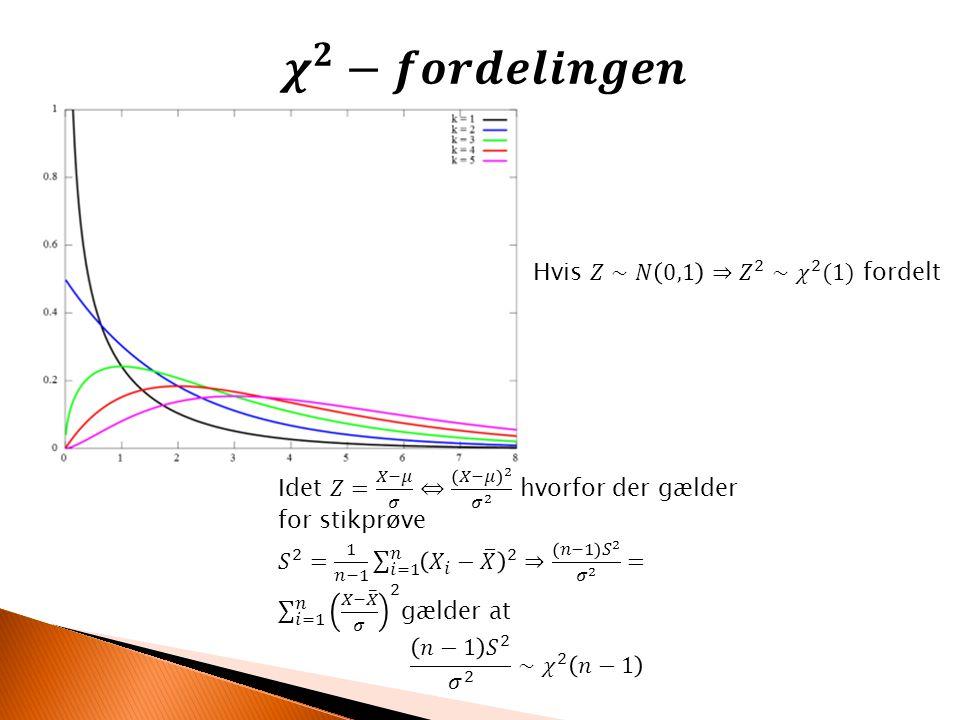 𝝌 𝟐 −𝒇𝒐𝒓𝒅𝒆𝒍𝒊𝒏𝒈𝒆𝒏 Hvis 𝑍∼𝑁 0,1 ⇒ 𝑍 2 ∼ 𝜒 2 (1) fordelt