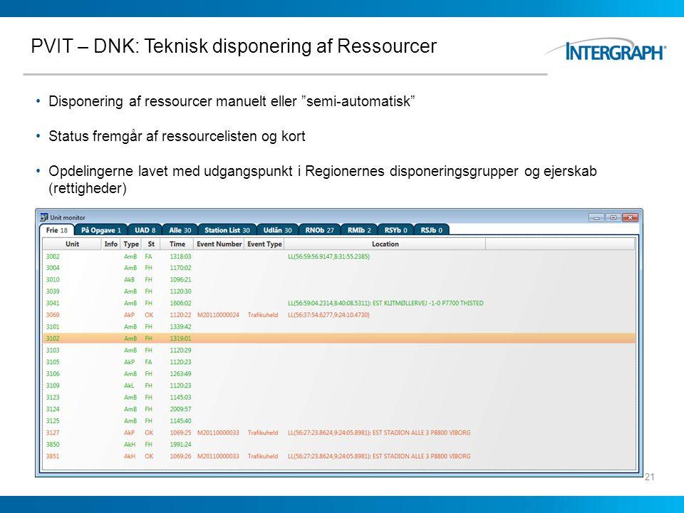 PVIT – DNK: Teknisk disponering af Ressourcer