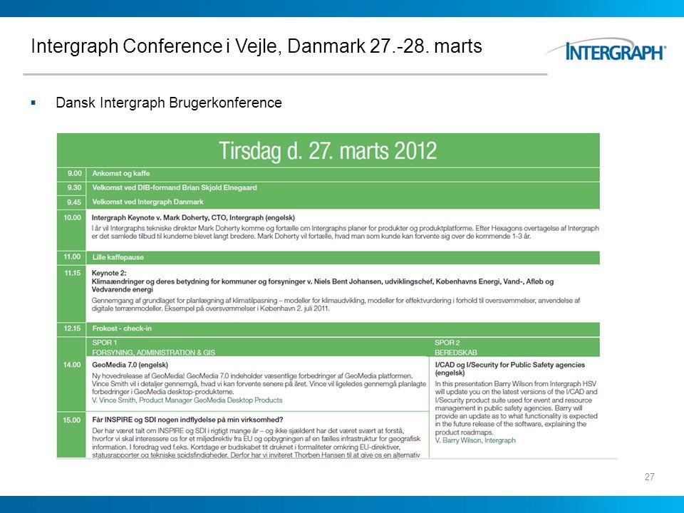 Intergraph Conference i Vejle, Danmark 27.-28. marts