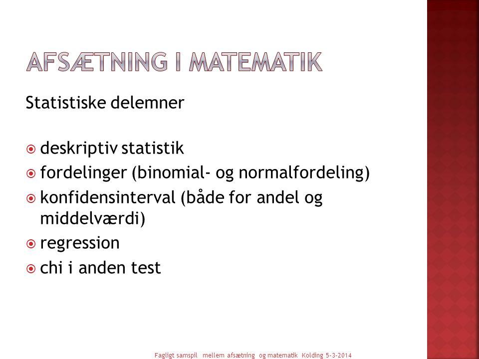 Afsætning i Matematik Statistiske delemner deskriptiv statistik