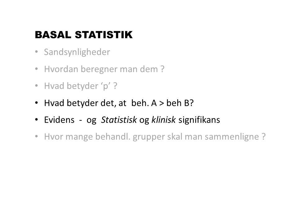 BASAL STATISTIK Sandsynligheder. Hvordan beregner man dem Hvad betyder 'p' Hvad betyder det, at beh. A > beh B