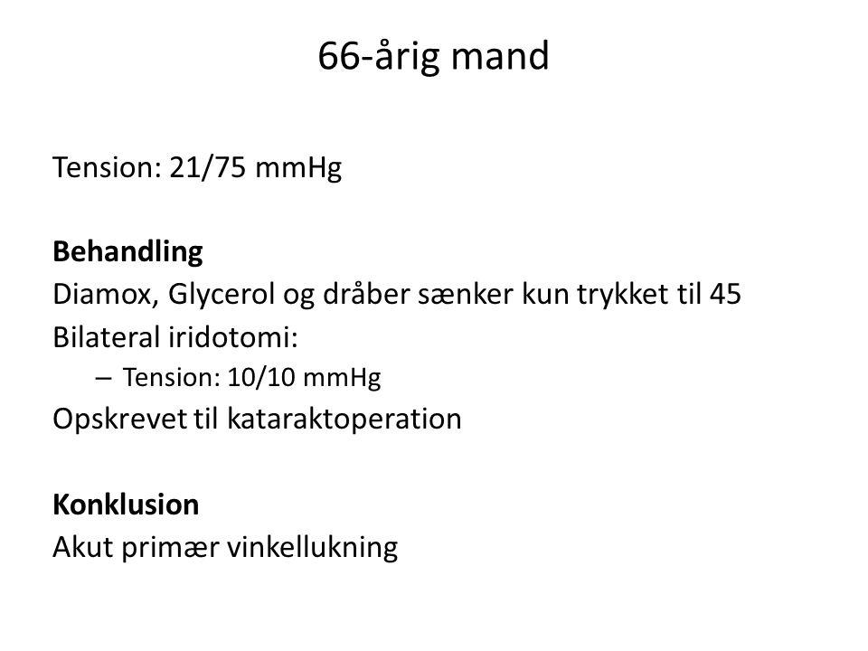 66-årig mand Tension: 21/75 mmHg Behandling