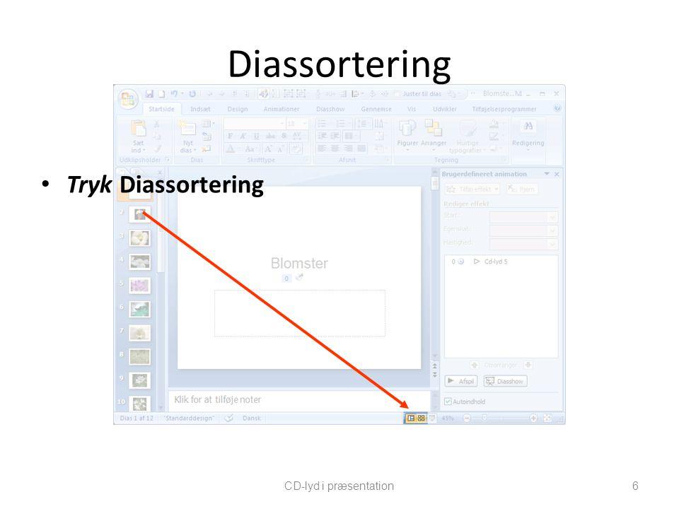 Diassortering Tryk Diassortering CD-lyd i præsentation