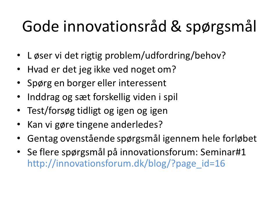 Gode innovationsråd & spørgsmål