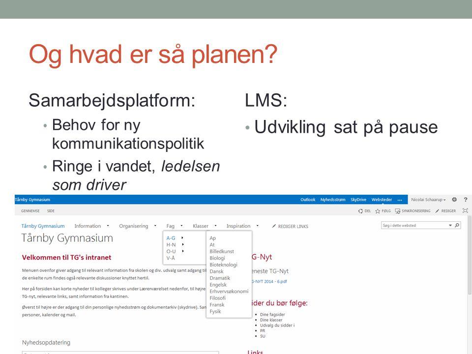 Og hvad er så planen Samarbejdsplatform: LMS: Udvikling sat på pause