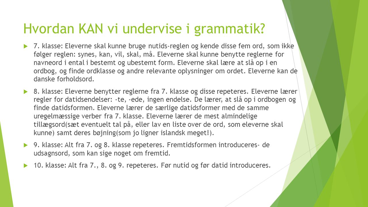 Hvordan KAN vi undervise i grammatik