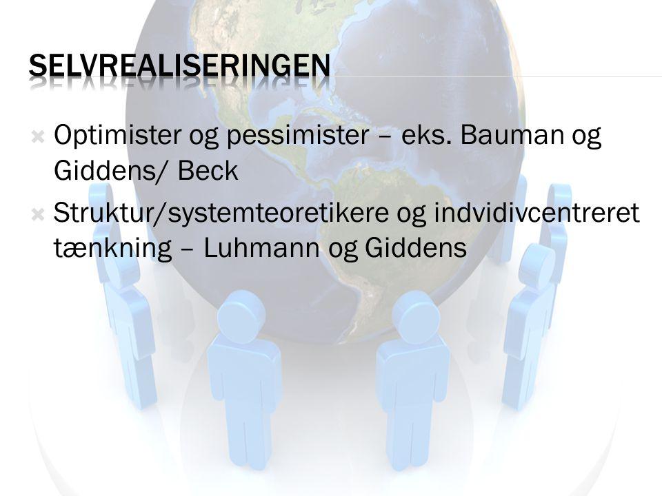 Selvrealiseringen Optimister og pessimister – eks. Bauman og Giddens/ Beck.