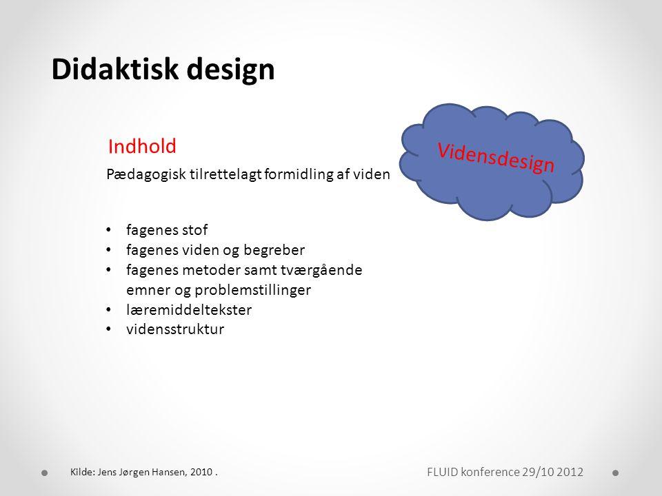 Didaktisk design Indhold Vidensdesign