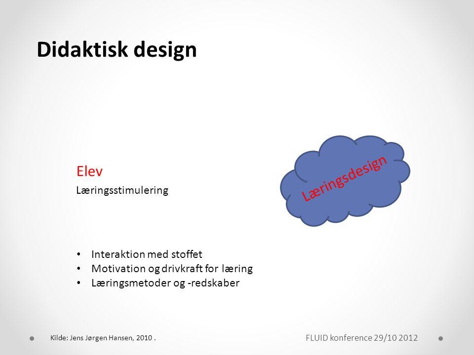 Didaktisk design Elev Læringsdesign Læringsstimulering