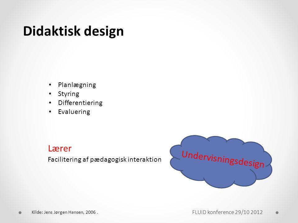 Didaktisk design Lærer Undervisningsdesign Planlægning Styring