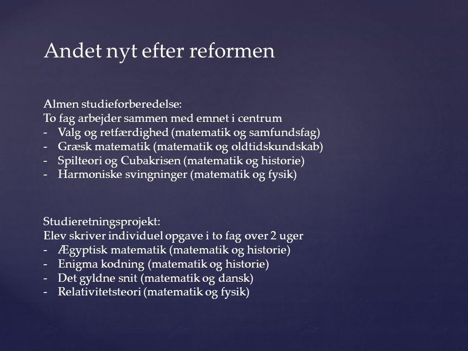 Andet nyt efter reformen