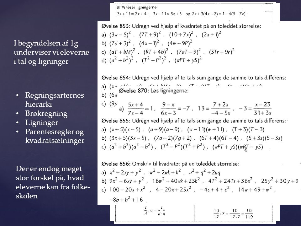 I begyndelsen af 1g underviser vi eleverne i tal og ligninger. Regningsarternes hierarki. Brøkregning.