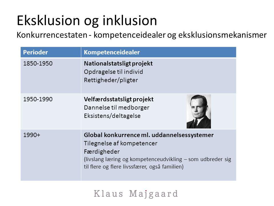 Eksklusion og inklusion Konkurrencestaten - kompetenceidealer og eksklusionsmekanismer