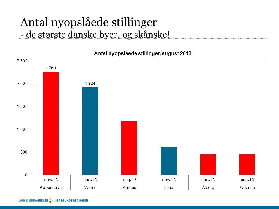 Antal nyopslåede stillinger - de største danske byer, og skånske!