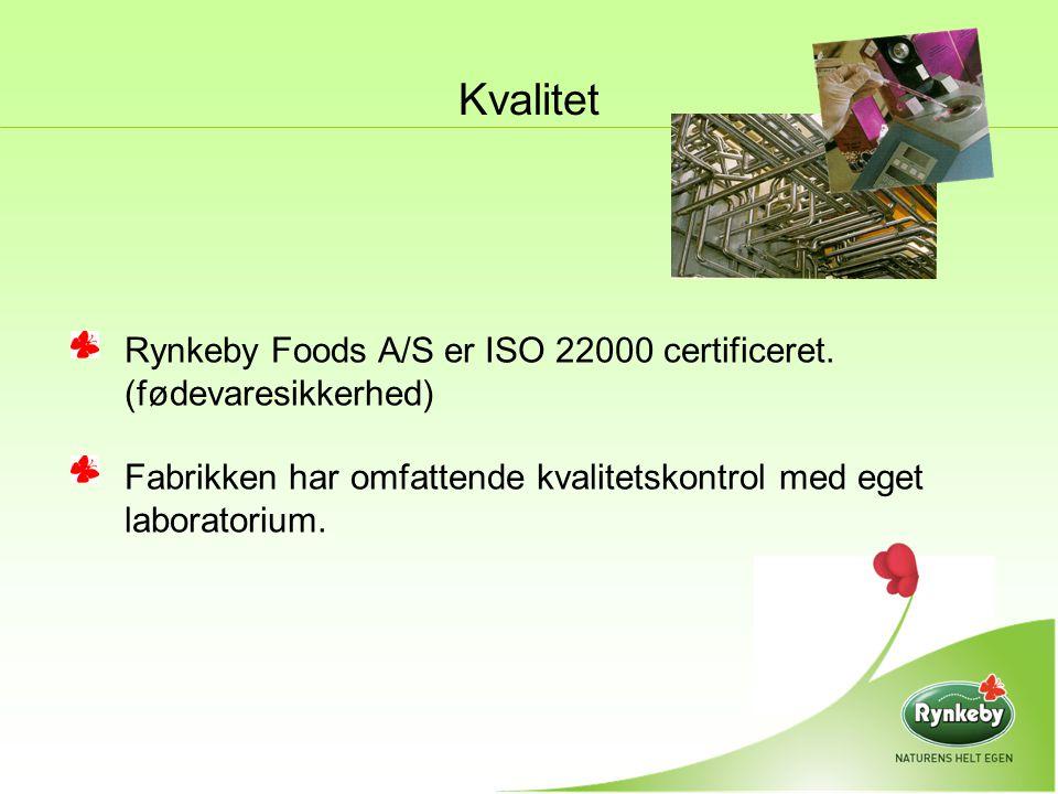Kvalitet Rynkeby Foods A/S er ISO 22000 certificeret.