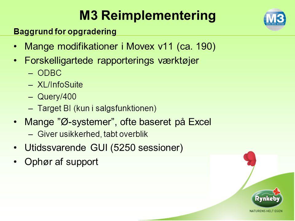 Mange modifikationer i Movex v11 (ca. 190)