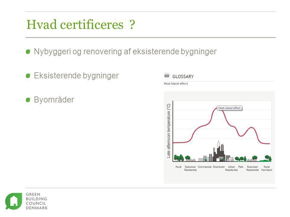 Hvad certificeres Nybyggeri og renovering af eksisterende bygninger