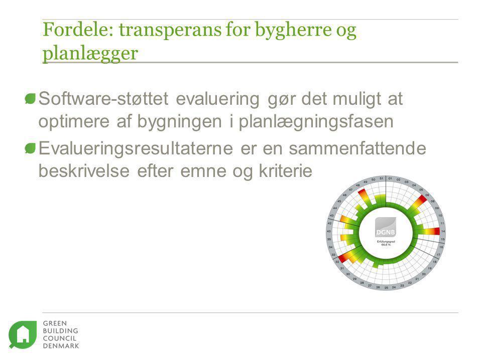 Fordele: transperans for bygherre og planlægger