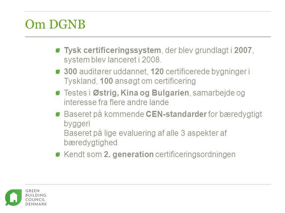 Om DGNB Tysk certificeringssystem, der blev grundlagt i 2007, system blev lanceret i 2008.