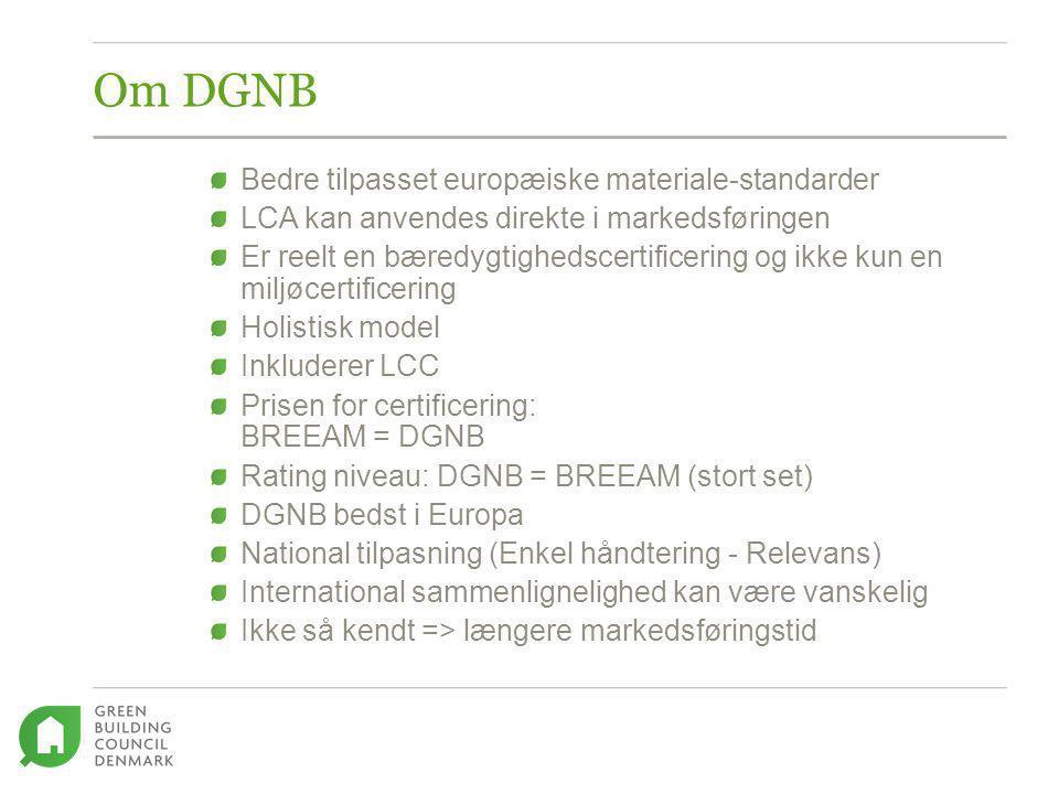 Om DGNB Bedre tilpasset europæiske materiale-standarder