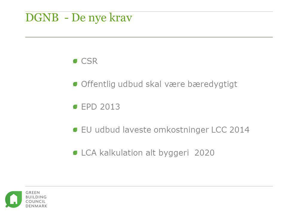 DGNB - De nye krav CSR Offentlig udbud skal være bæredygtigt EPD 2013