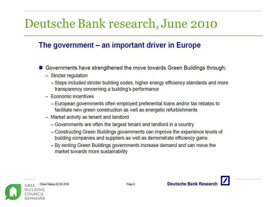 Deutsche Bank research, June 2010