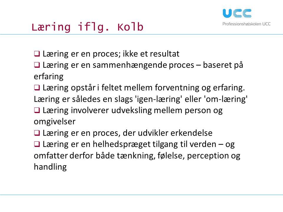 Læring iflg. Kolb Læring er en proces; ikke et resultat