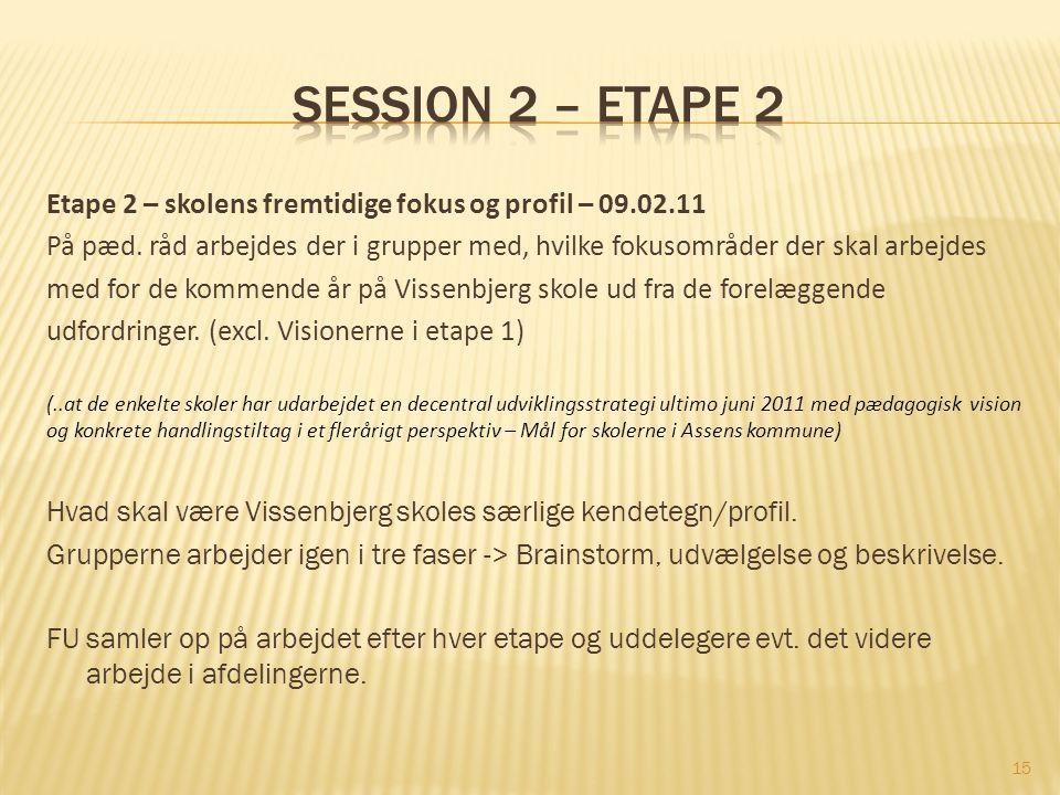 Session 2 – etape 2 Etape 2 – skolens fremtidige fokus og profil – 09.02.11.