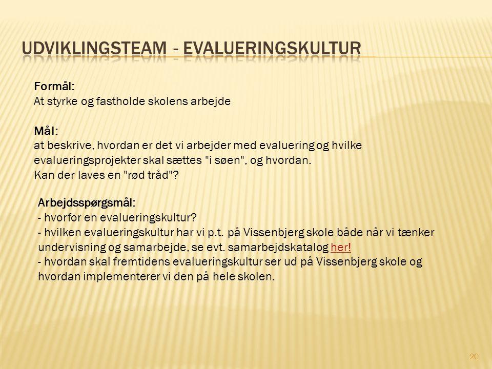 Udviklingsteam - Evalueringskultur