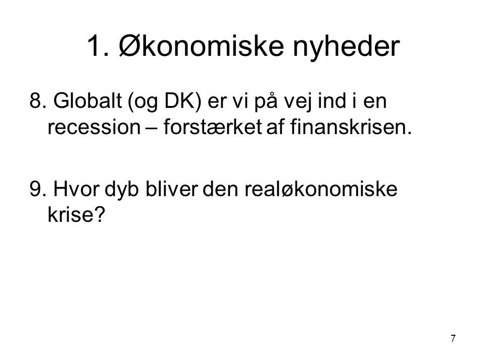 1. Økonomiske nyheder 8. Globalt (og DK) er vi på vej ind i en recession – forstærket af finanskrisen.