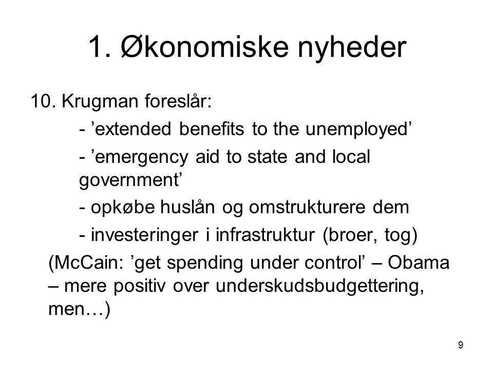 1. Økonomiske nyheder 10. Krugman foreslår: