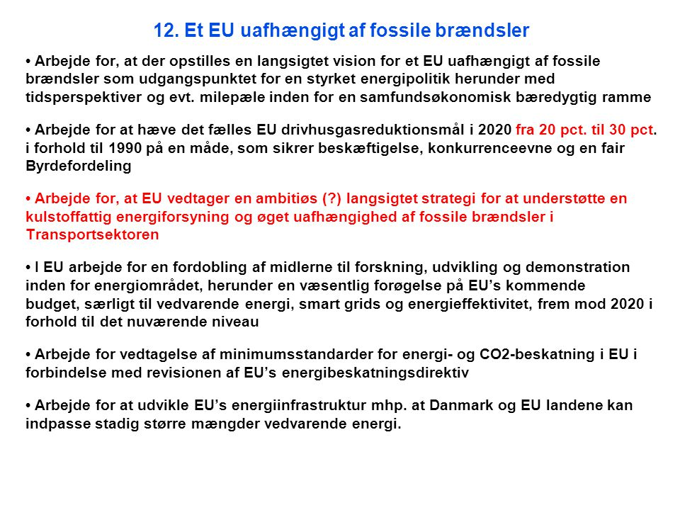 12. Et EU uafhængigt af fossile brændsler