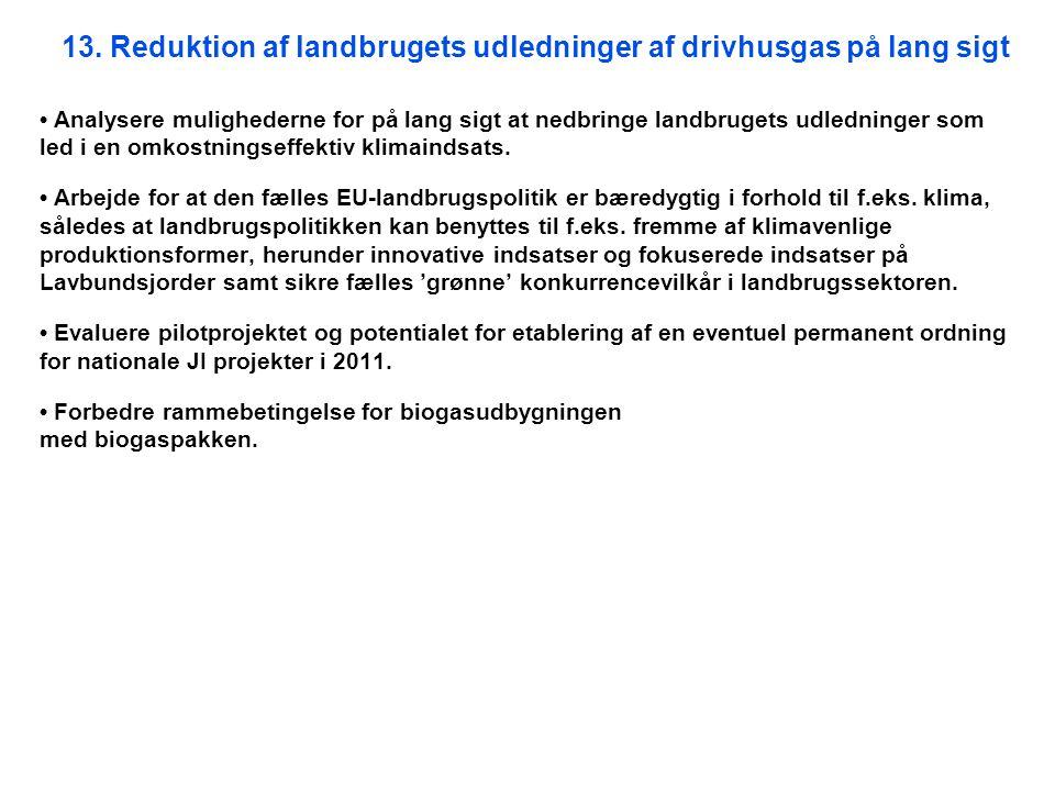 13. Reduktion af landbrugets udledninger af drivhusgas på lang sigt