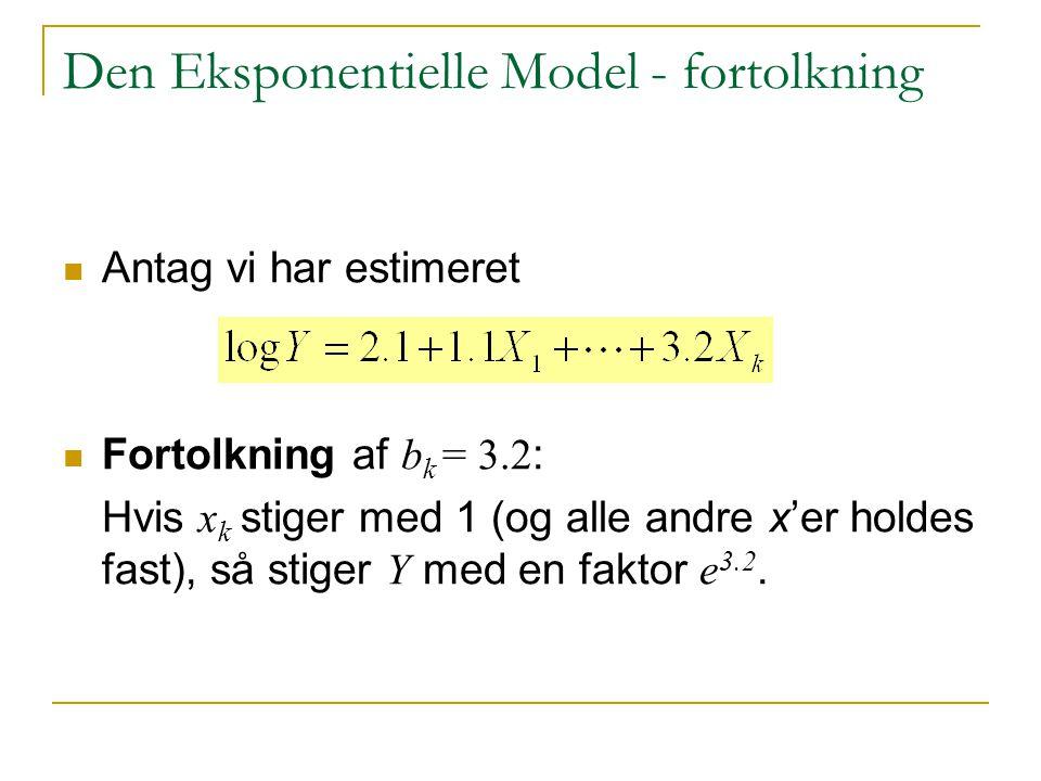 Den Eksponentielle Model - fortolkning
