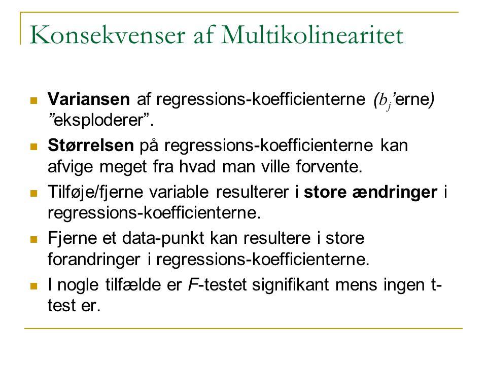 Konsekvenser af Multikolinearitet