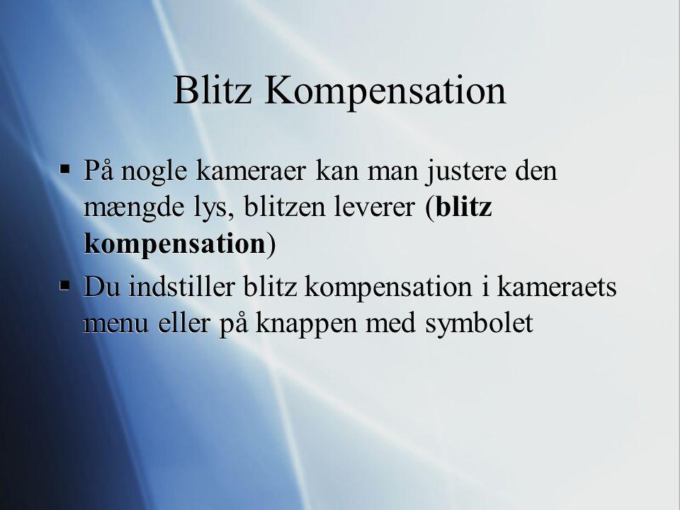 Blitz Kompensation På nogle kameraer kan man justere den mængde lys, blitzen leverer (blitz kompensation)