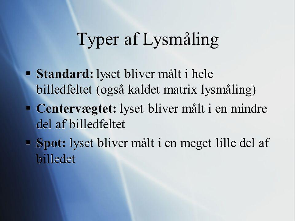 Typer af Lysmåling Standard: lyset bliver målt i hele billedfeltet (også kaldet matrix lysmåling)