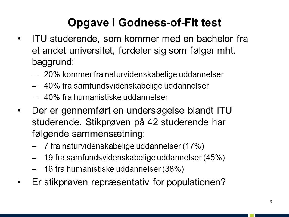 Opgave i Godness-of-Fit test