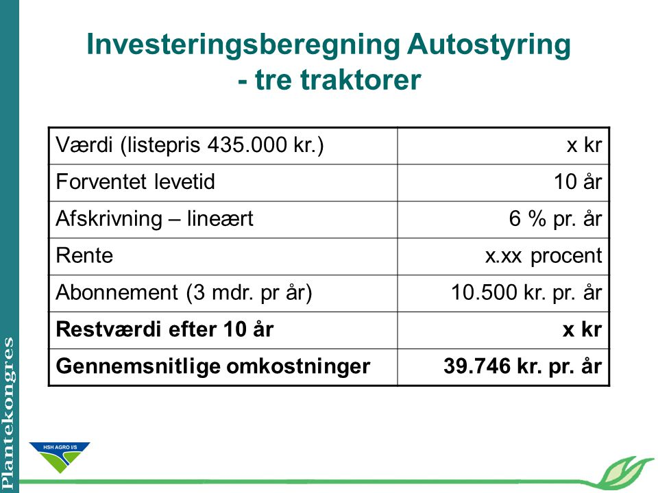 Investeringsberegning Autostyring - tre traktorer