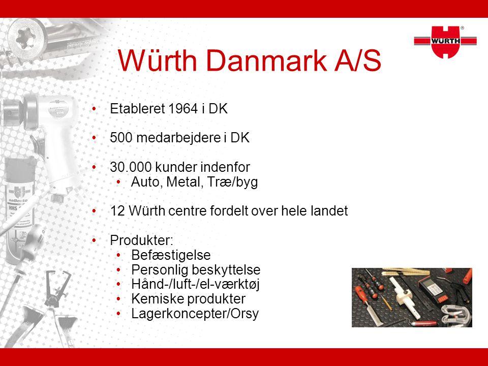 Würth Danmark A/S Etableret 1964 i DK 500 medarbejdere i DK