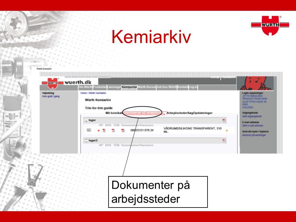 Kemiarkiv Dokumenter på arbejdssteder