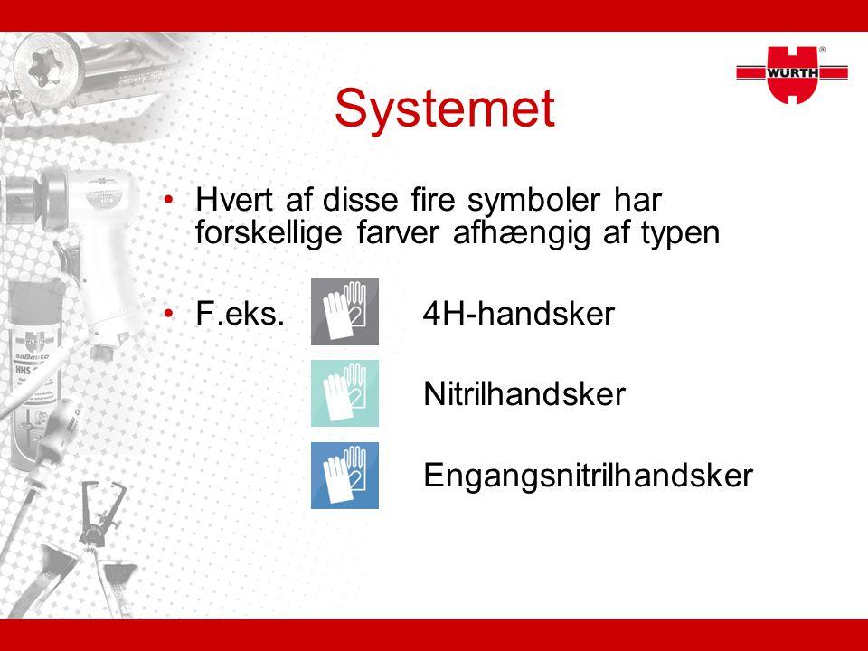 Systemet Hvert af disse fire symboler har forskellige farver afhængig af typen. F.eks. 4H-handsker.