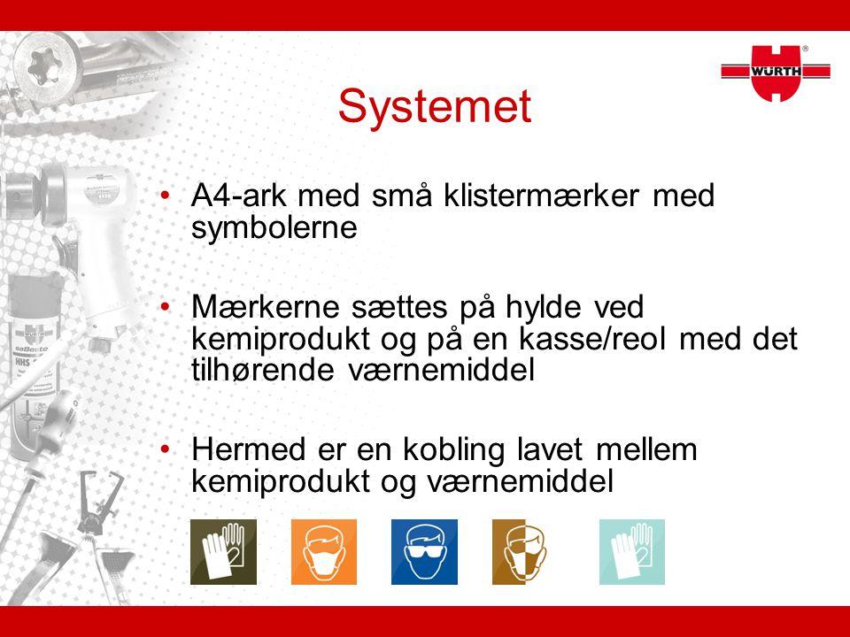 Systemet A4-ark med små klistermærker med symbolerne