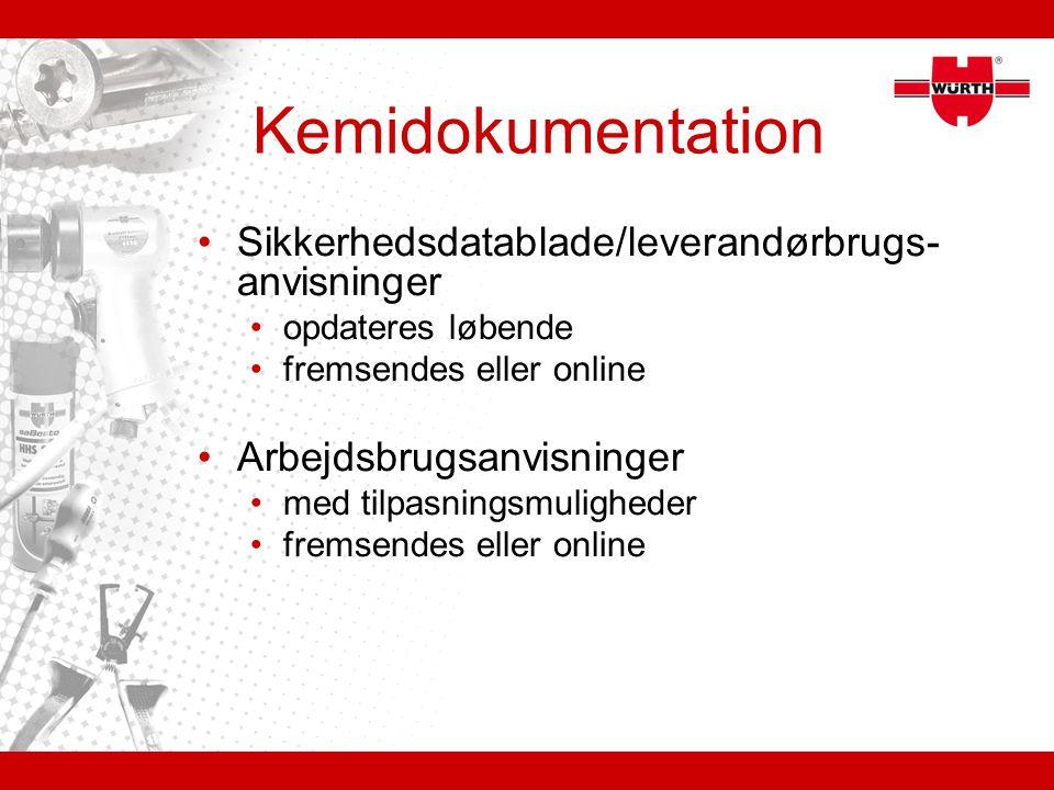 Kemidokumentation Sikkerhedsdatablade/leverandørbrugs-anvisninger