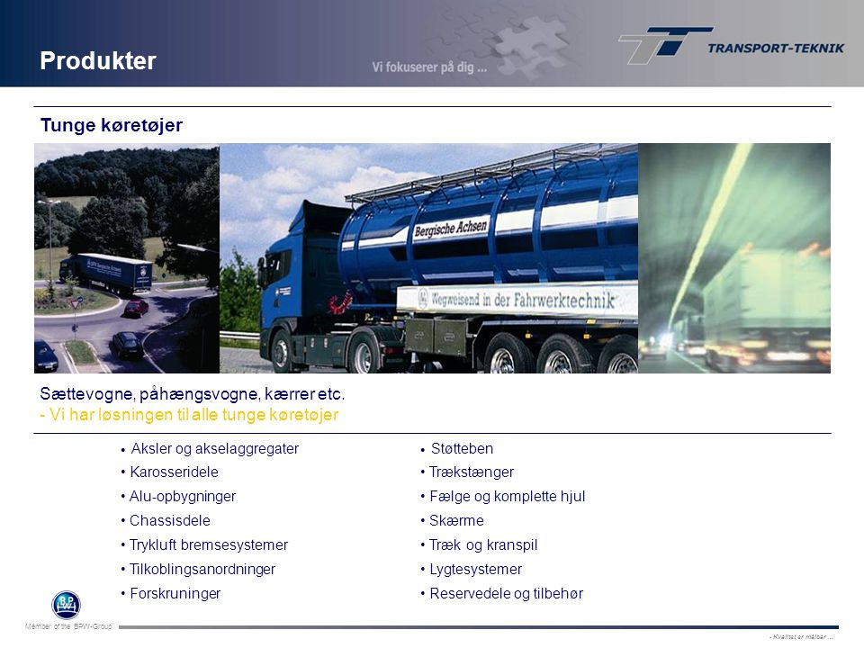 Produkter Tunge køretøjer Sættevogne, påhængsvogne, kærrer etc.