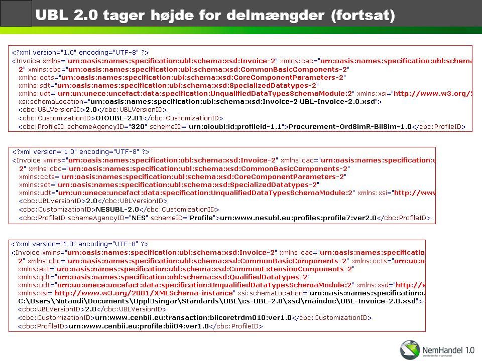 UBL 2.0 tager højde for delmængder (fortsat)