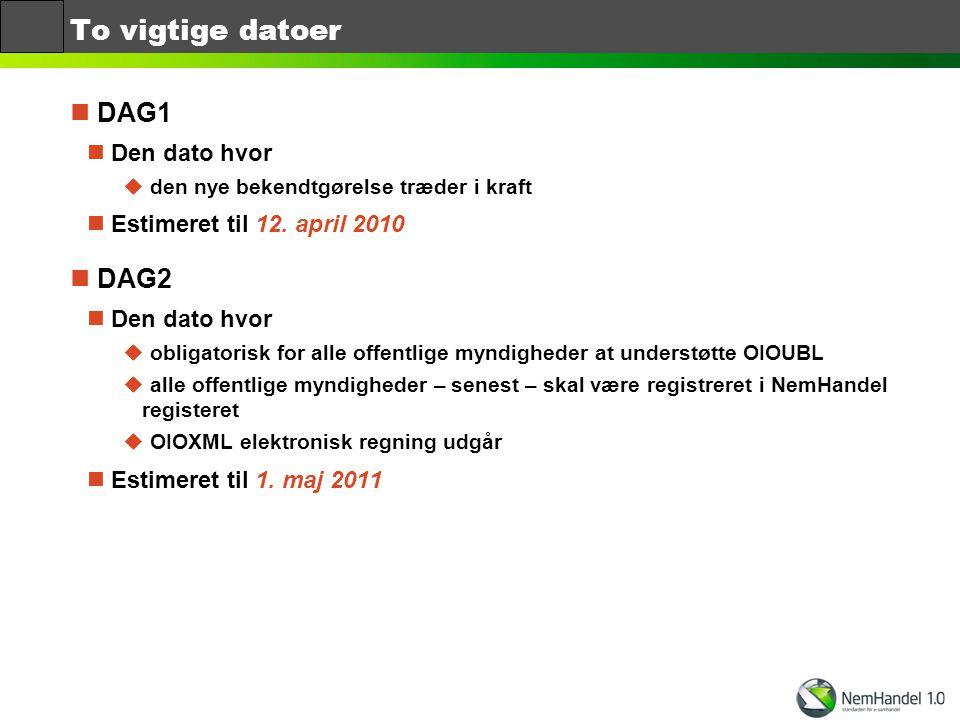 To vigtige datoer DAG1 DAG2 Den dato hvor Estimeret til 12. april 2010