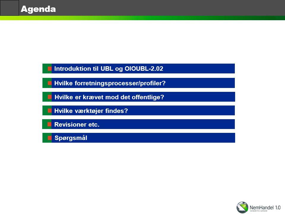 Agenda Introduktion til UBL og OIOUBL-2.02